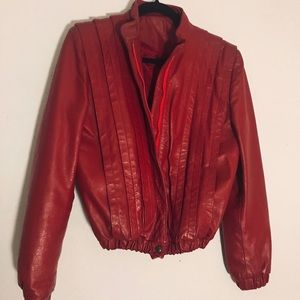 "Vintage Retro 80's Red Leather ""thriller""  jacket"